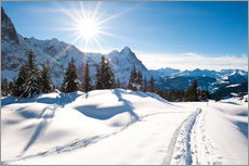 Vinilo para la pared  Winter scenery at Grindelwald - Peter Wey