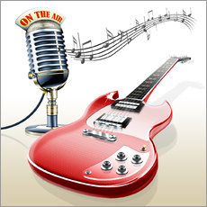 Cuadro de plexi-alu  Electric guitar with microphone and music notes - Kalle60