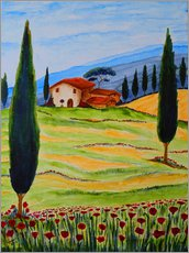 Vinilo para la pared  Flowering Poppies of Tuscany 4 - Christine Huwer