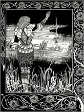 Vinilo para la pared  How Sir Bedivere Cast the Sword Excalibur into the Water - Aubrey Vincent Beardsley