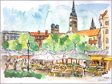 Cuadro de plexi-alu  Munich Food Market Square Day in Summer Aquarell - M. Bleichner