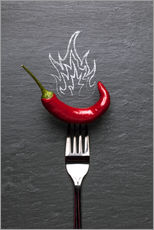 Cuadro de plexi-alu  red chili peppers with fire - pixelliebe