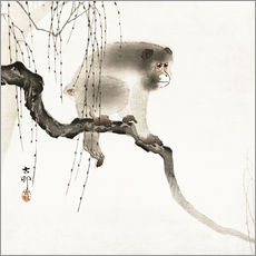 Vinilo para la pared  Japanese macaque on a tree - Ohara Koson