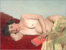 Cuadro de plexi-alu  Reclining Nude with Book - Felix Edouard Vallotton