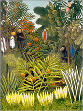 Cuadro de plexi-alu  Exotic Landscape with monkeys and a parrot - Henri Rousseau