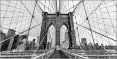 Vinilo para la pared  NYC: Brooklyn Bridge (monochrome) - Sascha Kilmer