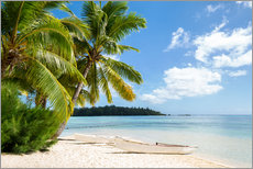 Vinilo para la pared  Beach with palm trees and turquoise ocean in Tahiti - Jan Christopher Becke