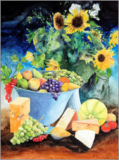 Vinilo para la pared  Still life with sunflowers, fruits and cheese - Gerhard Kraus