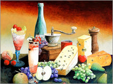 Cuadro de plexi-alu  Stil life with coffee grinder, fruits and cheese - Gerhard Kraus