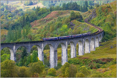 Cuadro de plexi-alu  Train on the Glenfinnan Railway Viaduct, part of the West Highland Line, Glenfinnan, Loch Shiel, Hig - Alan Copson