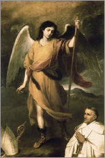 Vinilo para la pared  Archangel Raphael with Bishop Domonte - Bartolome Esteban Murillo