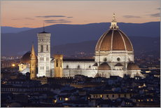Vinilo para la pared  Duomo at night from Piazza Michelangelo, Florence, UNESCO World Heritage Site, Tuscany, Italy, Europ - Stuart Black
