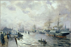 Vinilo para la pared  Sailing Ships in the Port of Hamburg - Carl Rodeck