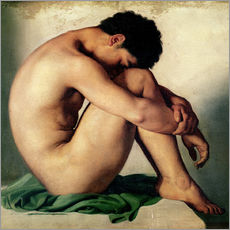 Vinilo para la pared  Study of a Nude Young Man - Hippolyte Flandrin