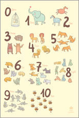Cuadro de plexi-alu  Zoological numbers for nursery - Petit Griffin