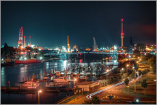 Vinilo para la pared  Kaiser Wilhelm Bridge and marina in Wilhelmshaven from above - Rainer Ganske
