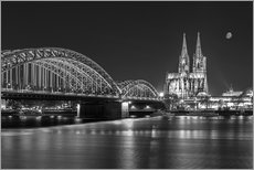 Cuadro de plexi-alu  Cologne Cathedral and Hohenzollern Bridge at night (b / w) - rclassen