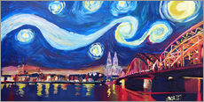 Vinilo para la pared  Starry Night in Cologne - Van Gogh inspirations on Rhine with Cathedral and Hohenzollern Bridge - M. Bleichner