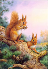 Cuadro de plexi-alu  Pair of Red Squirrels on a Scottish Pine - Carl Donner