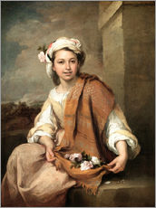 Vinilo para la pared  The Flower Girl - Bartolome Esteban Murillo