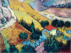 Vinilo para la pared  Landscape with House and Ploughman - Vincent van Gogh
