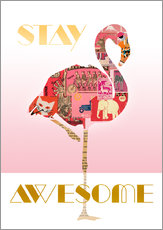 Vinilo para la pared  Stay Awesome Flamingo - GreenNest