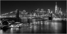 Vinilo para la pared  New York City by Night (monochrome) - Sascha Kilmer