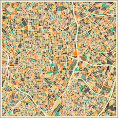 Vinilo para la pared  Mapa de Madrid - Jazzberry Blue
