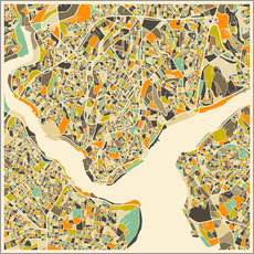 Vinilo para la pared  Istanbul Map - Jazzberry Blue