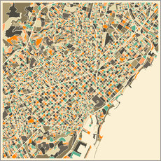 Vinilo para la pared  Mapa de Barcelona - Jazzberry Blue