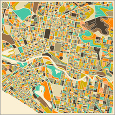 Vinilo para la pared  Melbourne Map - Jazzberry Blue