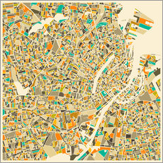 Vinilo para la pared  Copenhagen Map - Jazzberry Blue