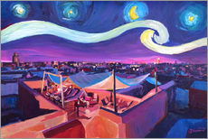 Vinilo para la pared  Starry Night in Marrakech   Van Gogh Inspirations on Fna Market Place in Morocco - M. Bleichner