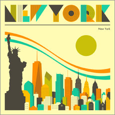 Vinilo para la pared  Horizonte de nueva york - Jazzberry Blue