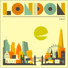 Vinilo para la pared  Skyline de Londres - Jazzberry Blue