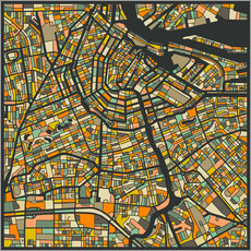 Vinilo para la pared  Amsterdam Map - Jazzberry Blue