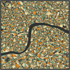 Vinilo para la pared  Mapa de Londres - Jazzberry Blue