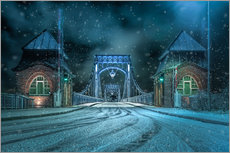 Cuadro de plexi-alu  Kaiser Wilhelm Bridge Wilhelmshaven in winter at night - Rainer Ganske