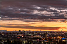 Vinilo para la pared  Sunset over Munich (Bavaria) - Achim Thomae