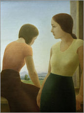 Vinilo para la pared  Two girls at the window - Georg Schrimpf