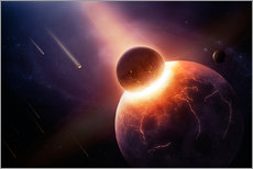 Vinilo para la pared Planet earth destroyed in collision with asteroid