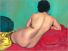 Póster Nude from behind on a red sofa