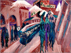Vinilo para la pared  Leipziger Strasse with electric train - Ernst Ludwig Kirchner
