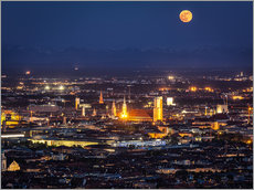 Vinilo para la pared  Munich Skyline with yellow full moon