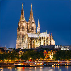 Vinilo para la pared  Night view of Cologne Cathedral