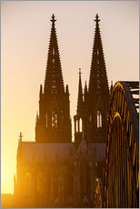 Vinilo para la pared  Sunset behind the Cologne Cathedral
