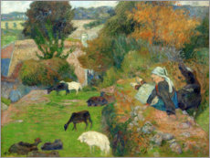Lienzo  Bretonnian Shepherdess - Paul Gauguin