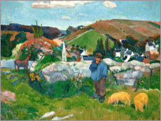 Lienzo  The swineherd - Paul Gauguin