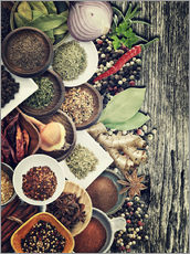 Cuadro de plexi-alu  Spices And Herbs On Rusty Old Wood