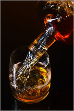 Cuadro de plexi-alu  whiskey and ice on a glass table